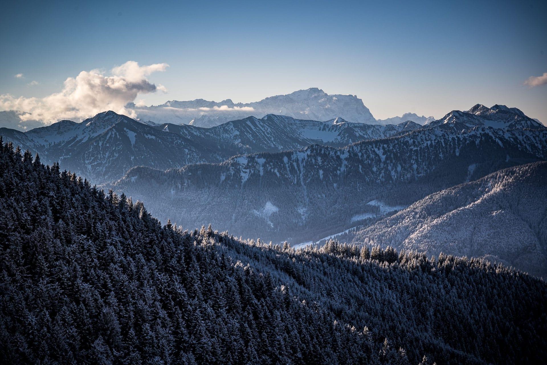 Blick auf die Zugspitze bei der Wanderung aufs Hintere Hörnle