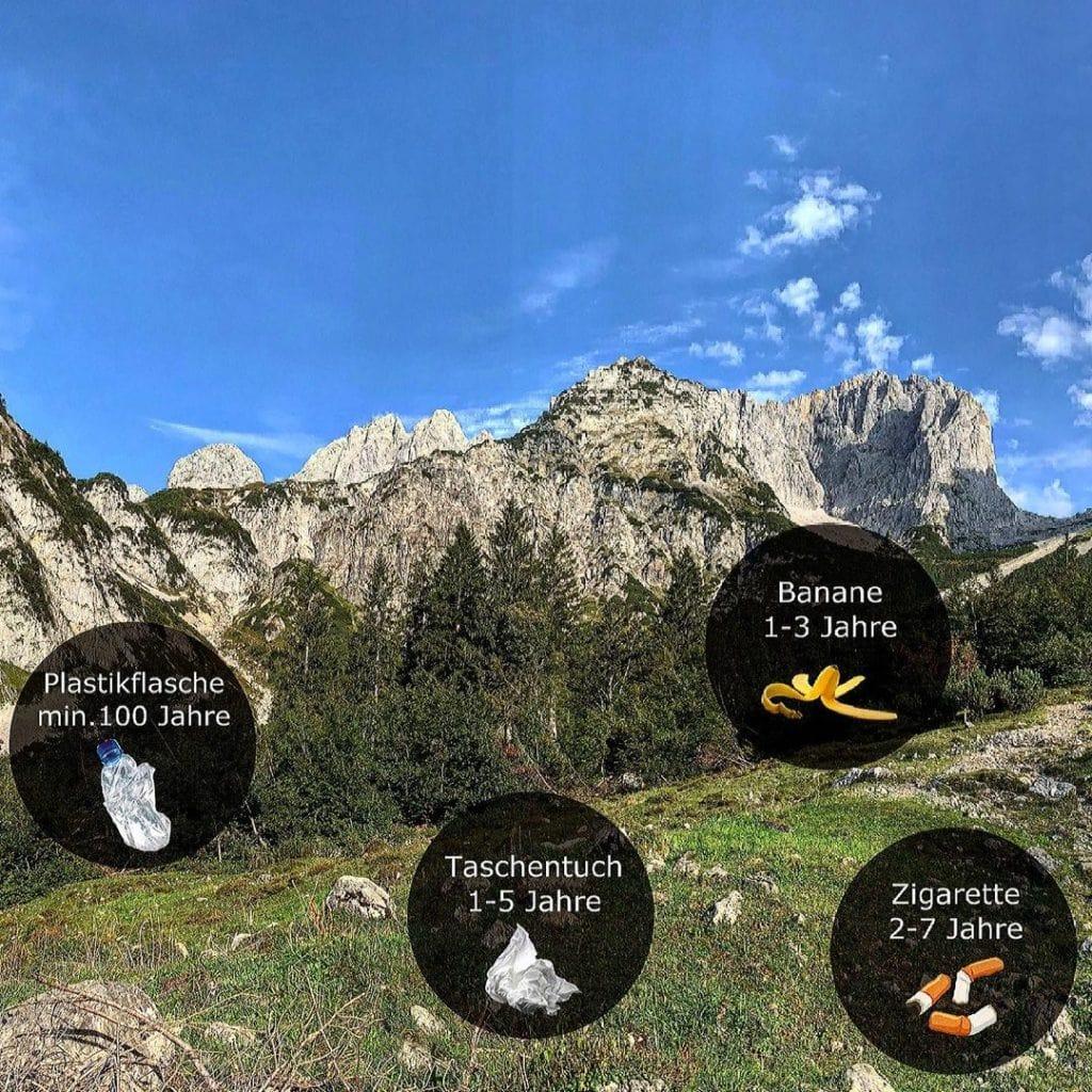 Umweltverträgliches Wandern: Abbauzeit von Müll in den Bergen